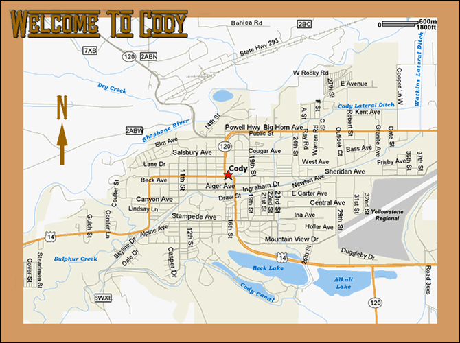 Map Of Cody Wyoming Tidal Treasures - Wy map